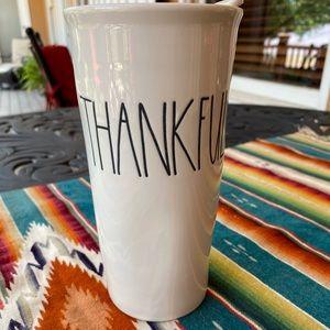 Rae Dunn Ceramic Travel Tumbler Thankful
